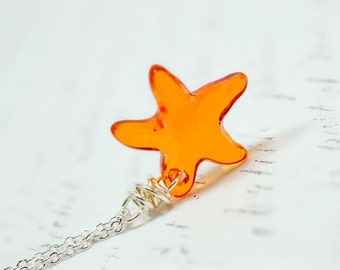Orange Starfish Necklace, Bright Orange Tequila Sunrise Swarovski Crystal Sea Star Fish, Beach Wedding Nautical Jewelry