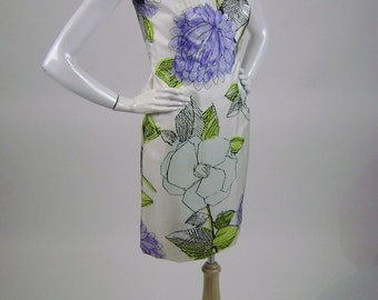 "Vintage 70s Dress, Purple Floral Sheath, Sleeveless, Scoop Neck, White, Black Trim, Large Purple Flowers, Green Leaves, B 35"", W 29"", Lined"