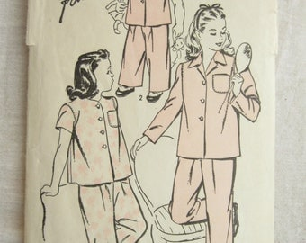 Advance 4183 Girls 1940s Pajama Pants and Shirt Vintage Sewing Pattern Size 10