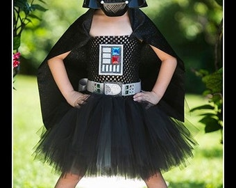 THE DARK SIDE Darth Vader Inspired Tutu Dress with Attached Cape