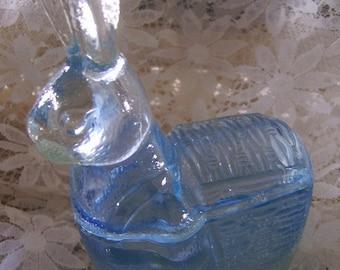 Vintage Baby Blue Glass Rabbit bunny Trinket Jewelry Candy Holder