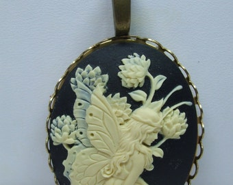 Vintage  black  and Cream Fairy Cameo Necklace  Reproduction