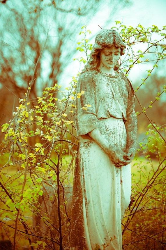 Cemetery Photography, Graveyard Art, Statue, Grief and Condolence, Cemetery Monument, Tombstone, 8 x 12 Print - Fine Art Photo, Gothic Art