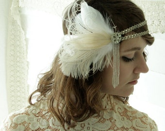 jeanette - 1920's headband, bridal headband of vintage silver trim and antique beaded fringe with ivory and champagne feathers-made to order