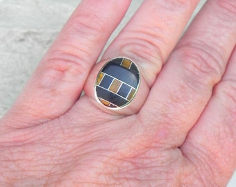 Black Onyx Tiger Eye Sterling Ring
