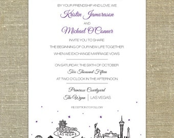Las Vegas Skyline Wedding invitation SAMPLE ONLY