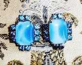 Vintage MOONSTONE EARRINGS, BLUE Rhinestone Trim, Gorgeous Sparkling Design, Retro Class, Fashion Statement
