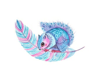Squirrel print, Japanese Dwarf Flying - watercolor animal and feather art print, size 10x8 in (No. 53)