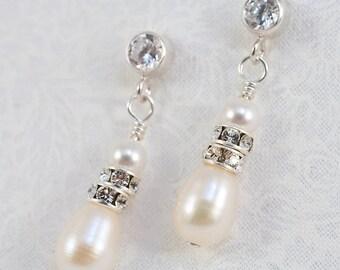 Sterling Silver Cubic Zirconia & Freshwater Pearl Earrings
