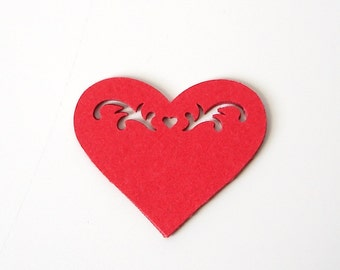 50 Multi Detail Red Heart Confetti, Valentine's Day Party Decorations - No246