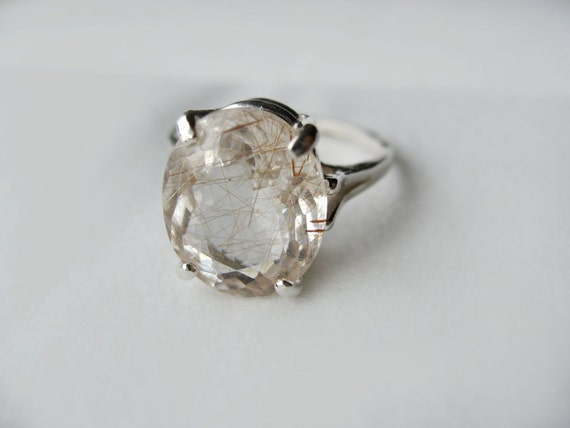 Champagne Rutile Quartz In Sterling Silver Cocktail Ring 5ct. Size 7