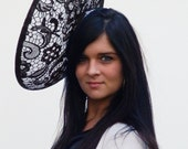 Dutch design big saucer hat white sinamay with black lace on aliceband