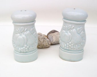 Mid Century Turquoise Salt and Pepper Shakers / Porcelain Salt Pepper Containers with Fruit Decoration