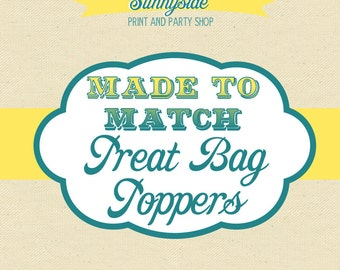 Party Treat Bag Favor Toppers - Made to Match - Printable