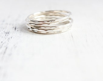 Thin sterling silver stacking rings, gifts under 50, eco friendly, thin silver band, minimal jewelry, stack ring