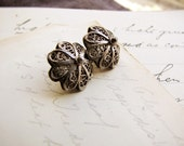 800 silver buttons - a pair of 19th century coin silver antique filigree buttons  - Artisan signed