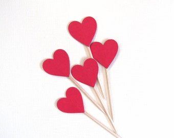 Red Heart Cupcake Toppers, Party Decor, Valentine's Day, Love, Weddings, Showers, Birthdays, Double-Sided, Set of 24