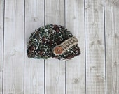 Newborn Baby Camo Newsboy cap with coordinating strap (also available in 1-3mos, 3-6mos, 6-12mos)