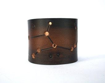 Virgo constellation leather cuff