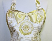 Apron GOLD Filigree FRENCH Holiday, Lamé Trim, GLAMOUR Hostess, Elegant Pretty Party Kitchen Gift