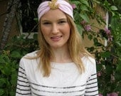 Pink and White Seersucker Stripe Gold Beaded Anchor Elastic Headwrap, for weddings, parties, special occasions
