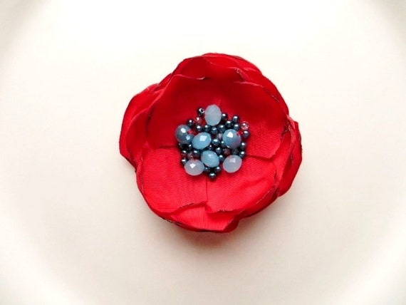 Beaded Red Fabric Flower Pin, Silk Flower brooch, Floral Brooch, Red Flower Pin, Navy and Light Blue Beads, Summer Broach jewelry for women