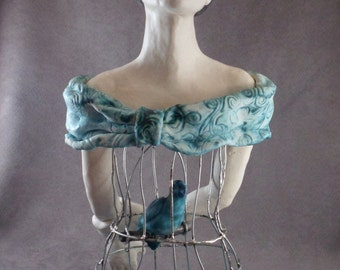 """Bird Cage Lady Aqua Turquoise Milk Glass """"I Know Why My Caged Bird Sings"""""""