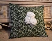 White Eyelet Rose Trio Embellished Pillow Cover, dark green floral print cotton 16 inch, Shabby Chic Saint Patrick's Day decor Mother's Day