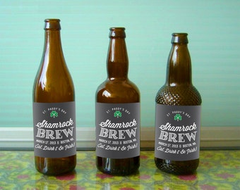 Custom beer bottle labels for St. Patrick's Day and other special events