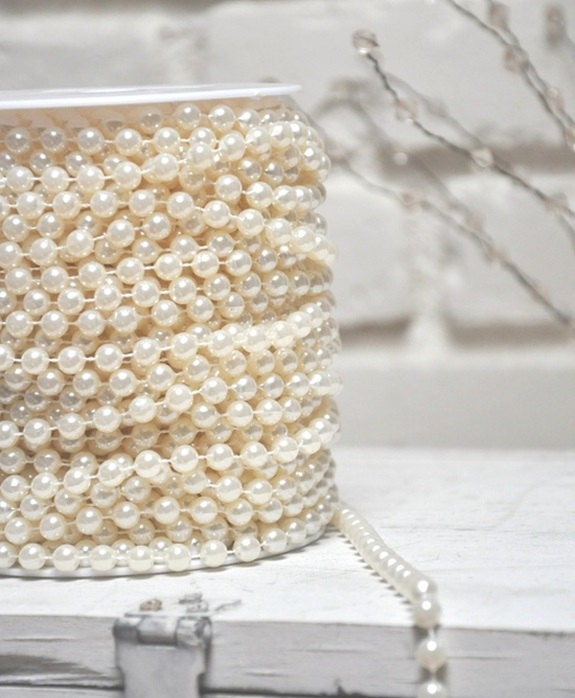 White Pearl Beads Strand Garland Acrylic Wedding Pearl: 8mm Ivory Wedding Faux Pearl Beads On A Spool Acrylic