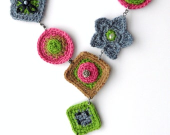 Crochet  Necklace - Chain Necklace - Y Shape Necklace - Multicolored Necklace - Wool Necklace