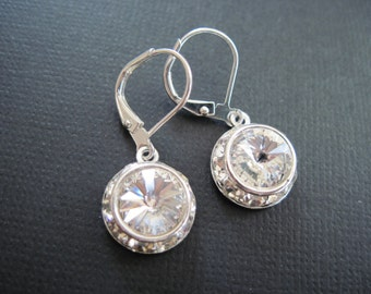 Clear Swarovski Crystal Drop Earrings/ Bridal Jewelry/ Bridesmaid Earrings/ Bling Earrings/ Swarovski Earrings