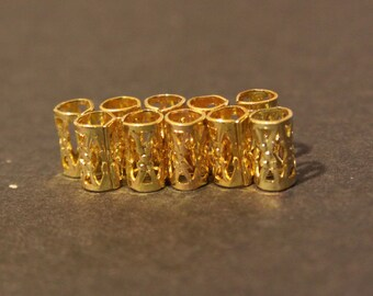30 Micro Gold Dreadlock Beads - Dread Cuffs Hair Beads 4/5mm Hole  (3/16 Inch) & FREE Tibetan Silver Bead