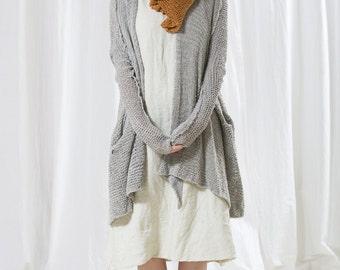 Chunky Soft  gray Jacket ,handmade knitted grey cardigan sweater, knitting ,eco design, cotton