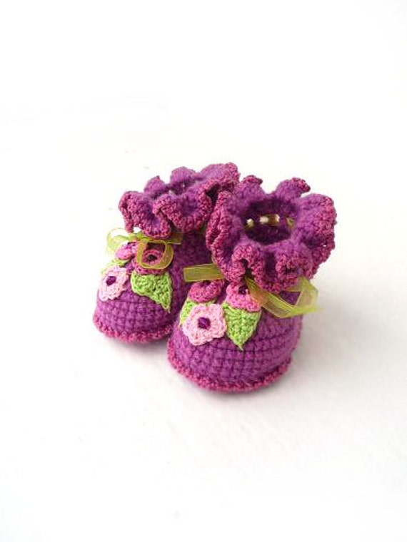 Baby Girl boots, baby booties, baby shoes,baby boots, size 3 - 6 month, 0-3 month, 6-9 month, purple pink