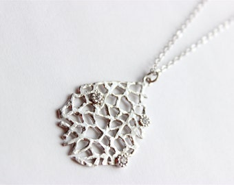 Long Silver Necklace - Silver Reef Necklace with CZ Accents - Matte Gold Chain Necklace