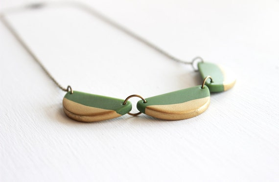 Olive Green Gold Dipped Scallops Polymer Clay Necklace