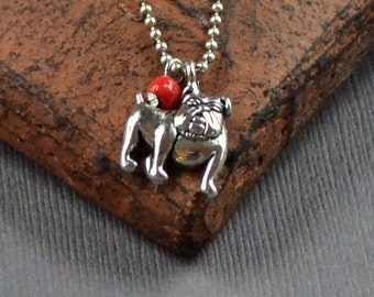 SALE Bulldog Silver Pendant Georgia Football Mascot Bull Dog Pet Necklace Red Tiny Bead Fashion Jewelry Ball Chain Jewellery Free Shipping