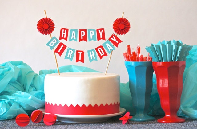mini banner or cake bunting in red aqua happy birthday with on cake birthday banner
