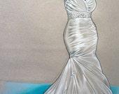 Custom Wedding Dress Illustration - Bridal Shower Gift - Wedding Gown Fashion Sketch