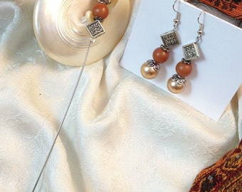 """Celtic Knot Earrings and Matching 6"""" Hat Pin With Pearly Beige, Amber and Silver Beads Irish Jewelry St Patricks Day Gifts Under 10"""