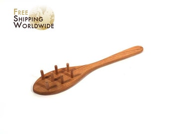 Wooden Spoon / Rake for Pasta Spaghetti serving Large from Cherry wood - 30
