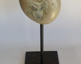 Beach stone sculpture, a found object and pencil drawing, modern organic art sculpture from Halina Koch Petroglyph Stone Head Series No. 3