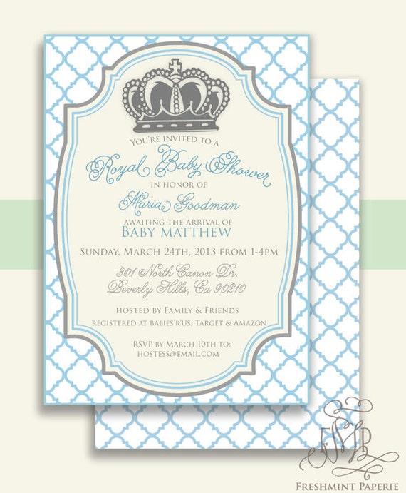 Royal Baby Shower Invitation Baby Shower Invitation Prince