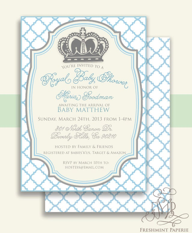 printable invitations baby shower invitation prince