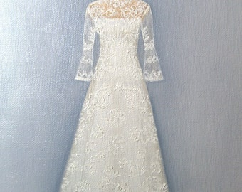 CUSTOM Wedding Dress Illustration Painting in OIL by LARA 11x14 Mother of the Bride Daughter