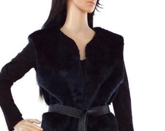 Fur Vest /  Black Faux Fur Vest