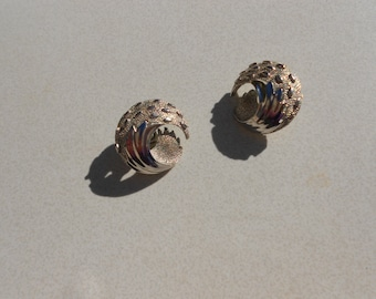 Trifari  Crown Vintage earrings 1960s clip on abstract Waves and the Moon