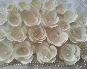 300 Ivory Paper Flowers Adored With A Pearl Center