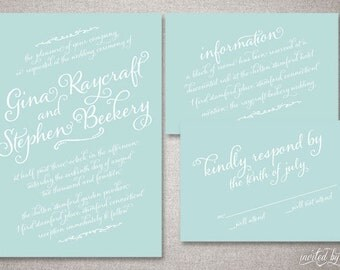 "Calligraphy Script ""Gina"" Wedding Invitation Suite - Shabby Chic Vintage Handwritten Invitations - DIY Digital Printable or Printed Invite"